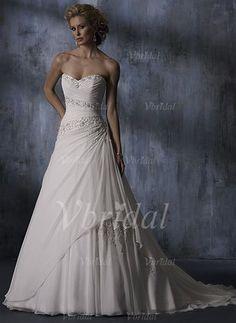 Brautkleider - $186.99 - Duchesse-Linie Herzausschnitt Hof-schleppe Chiffon Brautkleid mit Rüschen Perlenstickerei Applikationen Spitze Pailletten (00205002141)