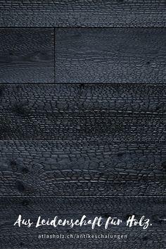 Antike Schalungen Vulcano, heimische Lärche, verkohlt und fixiert / Wall Panels Vulcano, native Larch, charred and fused