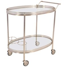 French Vintage Chrome Oval Bar Cart | From a unique collection of antique and modern bar carts at http://www.1stdibs.com/furniture/tables/bar-carts/