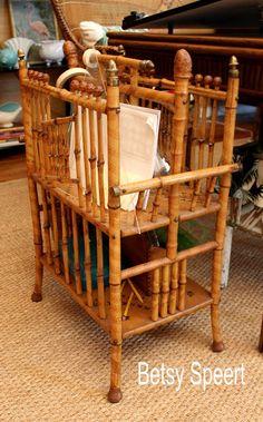 Betsy Speert's bamboo antique  magazine rack #laylagrayce #bunnywilliamshome