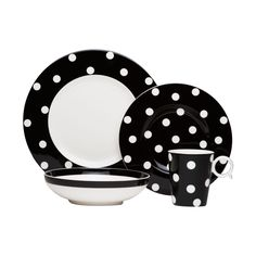 Sophisticated, yet fun, the black and white polka dot design gives you timeless elegance. Your friends and family will love this contemporary porcelain set perfect for entertaining.