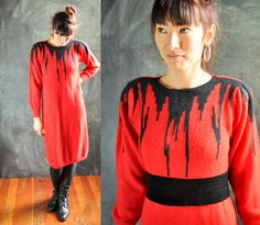 Vintage 1980s Soft Angora Sweater Dress Holiday by drowsySwords