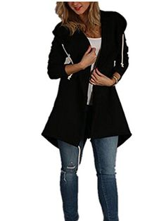 Rogi Sudaderas Mujer 2018 Autumn Fashion Zip-Up Hooded Coat Hoodie Sweatshirts Loose Jumper Outerwear Coat Jacket With Pockets-cigauy Long Cardigan Coat, Loose Sweater, Tunic Sweater, Jumper, Fall Cardigan, Sweater Jacket, Ladies Hooded Coats, Coats For Women, Maternity Sweater