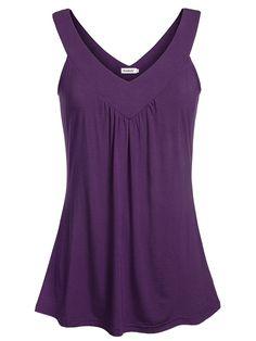 88cc645a6db0 Women Comfy Sleeveless Tunic Top Pleated V Neck Tanks Vest Summer - Purple  - CM17Y0WWDTW