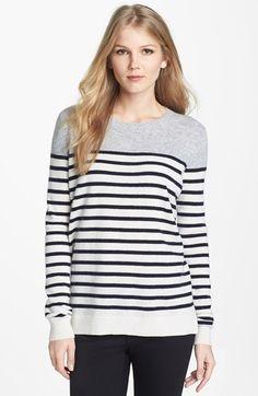 Vince Colorblock Breton Stripe Cashmere Sweater