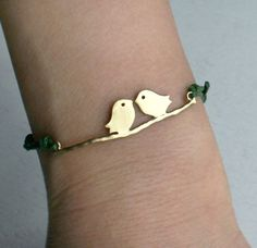 Love Birds Bracelet 24 colors to choose by greenduckweed on Etsy, $7.50