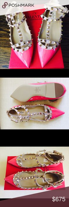 VALENTINO GARAVANI Pink Leather Studded Flats  38 VALENTINO GARAVANI Pink Leather Studded Flats. Size 38. Made in Italy. New with Box Valentino Garavani Shoes Flats & Loafers
