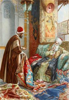 Rug Dealer  Amedeo Simonetti (1874 – 1922) Italian  watercolor on board Farhat Art Museum Collection .