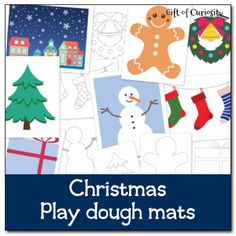 Free Christmas play dough mats to inspire your children to get creative with their play dough.