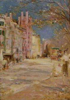 Edward Mitchell Bannister (American, 1828-1901), Boston Street Scene (Boston Common),1898-99, oil on panel,8 x 51/2 in. (20.32 x 13.97cm).