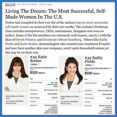 Forbes just compiled their list of the top 50 most successful, self-made women! Who do I see? Our founders of Rodan + Fields & the creators of Proactiv, Dr Katie Rodan & Dr. Kathy Fields! I'm so proud to have partnered with them (& share in the profits) as they establish their next billion dollar global skincare brand! You should too! Message me to learn more & about partnering with us, emroy06@gmail.com