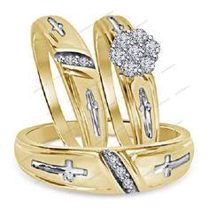Men's & Women's Sim Diamond Ring Set Wedding Trio Band 9kt Yellow Gold FN…