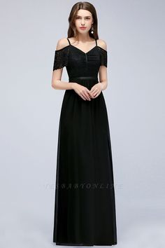 A-line Lace V-Neck Off-the-shoulder Sleeveless Floor-Length Bridesmaid Dresses   Yesbabyonline.com