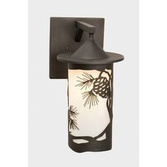 Steel Partners Pinecone 1 Light Outdoor Wall Lantern Finish: Mountain Brown, Shade Type: White Mica, Wet Location: No