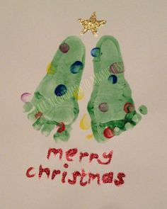 We've been making some footprint Christmas trees for Baby's First Christmas...so simple and lots of fun!