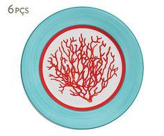 Jogo de Pratos para Sobremesa Coral