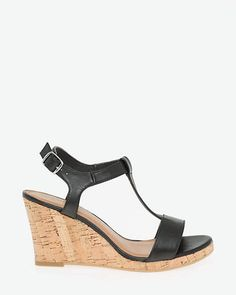 1e6e3d2572f3 Le Château Leather T-Strap Wedge Sandal