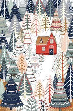 Wallpaper Winter Christmas Print Patterns Ideas For 2019 Christmas Design, Christmas Art, Winter Christmas, Vintage Christmas, Christmas Patterns, Christmas Doodles, Christmas Paintings, Christmas Fabric, Green Christmas