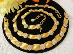 CROWN TRIFARI GOLD-TONE & RHINESTONE NECKLACE & BRACELET SET LOT #Trifari