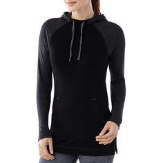 Smartwool Women's NTS Mid 250 Drape Neck Hoody ($103) ❤ liked on Polyvore featuring tops, hoodies, black, upf hoodie, sleeve hoodie, wrap top, raglan sleeve top and logo hoodie