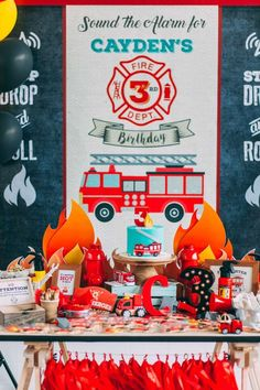 C's rustic firefighter party | CatchMyParty.com