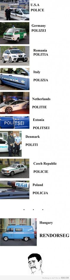 Police cars from different countries