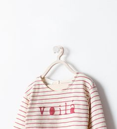 Amelie // STRIPED T-SHIRT WITH TEXT from Zara - 6-9mo