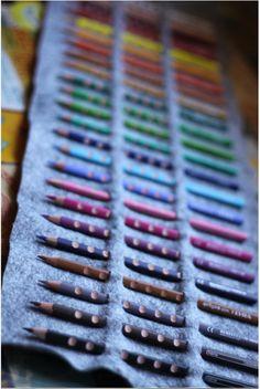 DIY -felt pencil roll case. http://www.smallfriendly.com/small-friendly/2011/08/no-sew-colored-pencil-roll.html