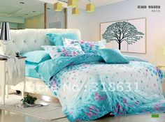Modern Style Bedroom,Turquoise Bedding Sets Queen,Floral Pattern Chest Drawer White,White Comfortable Bed Headboard, 9 designs in Turquoise Queen Comforter Set gallery Purple And Teal Bedding, Purple Bedroom Decor, Bedroom Turquoise, Small Room Bedroom, Trendy Bedroom, Bedroom Bed, Bedroom Colors, Girls Bedroom, Bedroom Ideas