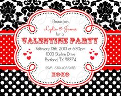Damask Red White and Black Valentine's Day Wedding Invitations