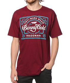 Do work on your style with a clean burgundy colorway that showcases a white and blue Benny Gold Anti-Work Wear script graphic at the chest.
