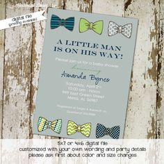 baby boy shower invitation with bow ties, little gentleman theme, digital, printable file (item 1201) baby shower invite by katiedidesigns on Etsy https://www.etsy.com/listing/85058807/baby-boy-shower-invitation-with-bow-ties