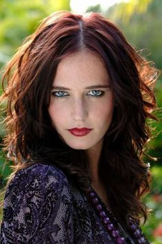 """Eva Green, looking ravishing. Fierce, sexy color, red lips. This is the photo I showed my colorist asking, """"can I have that?"""""""