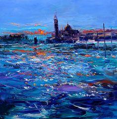 Dawnlight on the Lagoon Venice 40th Wedding Anniversary, Water Art, Moon Art, Palette Knife, Scarfs, Venice, Decoupage, Landscapes, Paintings