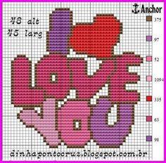 I love you xstitch Bobble Stitch Crochet, C2c Crochet, Tiny Cross Stitch, Cross Stitch Heart, Embroidery Patterns, Crochet Patterns, Donia, Modern Cross Stitch Patterns, Plastic Canvas Patterns