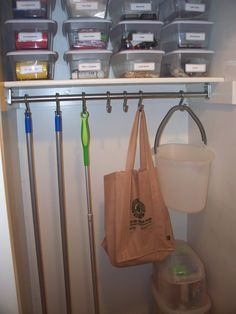 home organizing A simple solution for your utility closet. A couple of s-hooks can turn a messy utility closet into a neat and tidy space! Household Organization, Closet Organization, Closet Storage, Organizing Ideas, Broom Storage, Storage Rack, Do It Yourself Organization, Utility Closet, Mops And Brooms