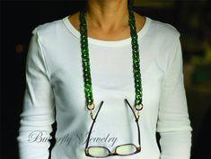 Sunglasses Holder, Chain Messages, Eyeglass Holder, Eyeglasses, Eyewear, Unique Jewelry, Etsy Shop, Birthday, Green