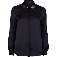 NAVY CONTRAST TRIM EMBELLISHED COLLAR SHIRT - River Island price: £35.00