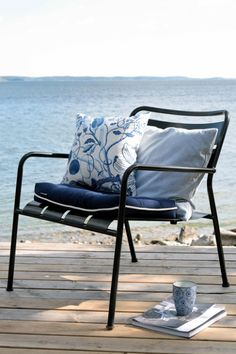 solstol, trädäck, strand, skärgård