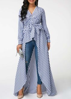 fef7282354fdde Belted V Neck Striped High Low Blouse