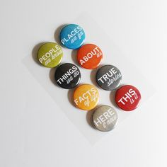 Fact or Fiction People, Places, Things Flair Buttons @Ormolu