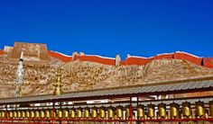 Tibet, Pray wheels at Phalcho monastery, Gyantse