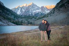 Fall Sunrise Proposal at Maroon Bells in Aspen Colorado | Colorado Wedding Photographers | Joe and Robin