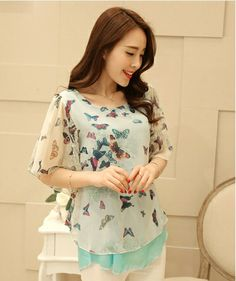 S~4XL New Arrive New 2014 Summer Fashion Women Blouse Batwing Short Sleeve Chiffon Shirt Three Colors Printed Butterfly Blouses $13.70