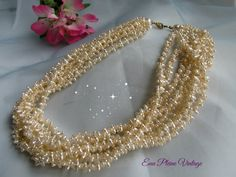 White Seed Bead Necklace Faux Pearls Multi by EauPleineVintage