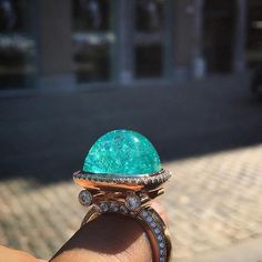 Absolutely stunning cabochon Paraiba Tourmaline ring @jewelry_goals