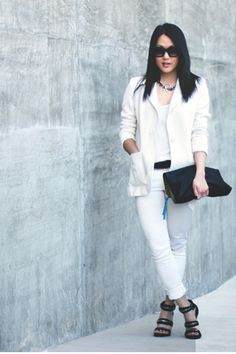 SHADES OF WHITE.    http://www.theversastyle.com/2013/03/how-to-wear-white.html