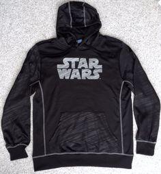NEW Athletic-Dry-Fit Polyester STAR WARS HOODIE Black/Gray Sweatshirt MENS LRG #StarWars #Hoodie