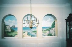 Faux Niches, landscape mural.   www.dwcustommurals.com, Dream Walls Murals and faux Finish. By Artist Alfredo Montenegro