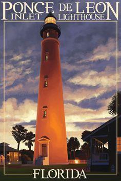 Ponce De Leon Inlet Lighthouse, Florida - Morning Scene - Lantern Press Poster